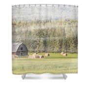Misty Morning Haybales Shower Curtain