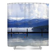 Misty Morning On Priest Lake Shower Curtain