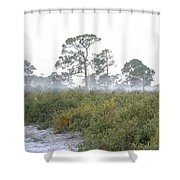 Misty Morning On The Trail Shower Curtain