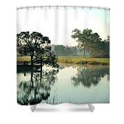Misty Morning Pond Shower Curtain