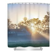 Misty Morning Sunrise - Valley Forge Shower Curtain
