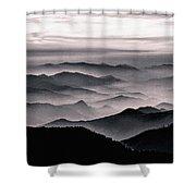 Misty Mountain Noir Shower Curtain by Susan Maxwell Schmidt