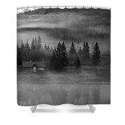 Misty Mountain Reflection Shower Curtain