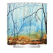 Misty November Woods Shower Curtain