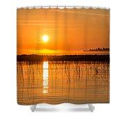 Misty Orange Sunrise On Boy Lake Shower Curtain