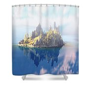 Misty Phantom Ship Island Crater Lake Shower Curtain