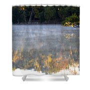 Dark Shoreline Frames Misty Fall Reflections On Jamaica Pond Shower Curtain
