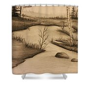 Misty River Shower Curtain by Ricky Haug