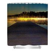Misty Sunrise On Old Forge Pond Shower Curtain