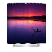 Misty Sunset At Singing Sands Beach Shower Curtain