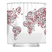 Mit University Colors Swirl Map Of The World Atlas Shower Curtain
