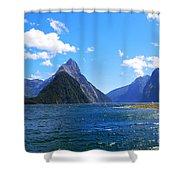 Mitre Peak In Milford Sound New Zealand Shower Curtain