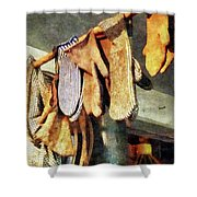 Mittens In General Store Shower Curtain by Susan Savad