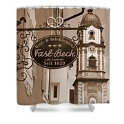 Mittenwald Cafe Sign In Sepia Shower Curtain