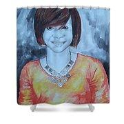 Mix Media Portrait Shower Curtain