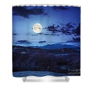 Mixed Forest Near Valley In Mountains  On Hillside At Night Shower Curtain