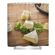Mixed French Cheese Platter With Bread Shower Curtain