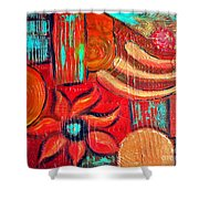Mixed Media Abstract  Shower Curtain