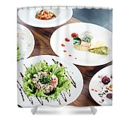 Mixed Modern Gourmet Fusion Food Dishes On Table Shower Curtain