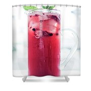 Mixed Red Berries And Wine Sangria Cocktail Jug Shower Curtain