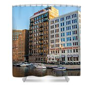Mke River Twilight Shower Curtain
