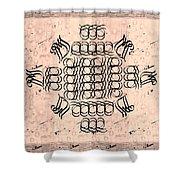 Mmonogram Stripes Lite Mauve Charcoal Shower Curtain