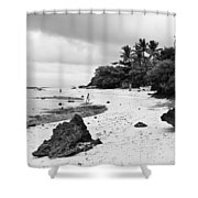Moalboal Cebu White Sand Beach In Black And White Shower Curtain