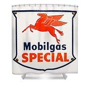 Mobil Gas Vintage Sign Shower Curtain