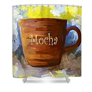 Mocha Coffee Cup Shower Curtain by Jai Johnson