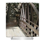 Mocha Colored Walking Bridge In American Fork Canyon Utah Shower Curtain