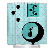Mod Wallpaper In Aqua Shower Curtain