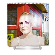 Model In Lace Makeup Shower Curtain
