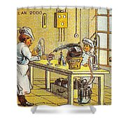 Model Kitchen, 1900s French Postcard Shower Curtain