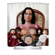 Model With Porcelain Dolls Shower Curtain