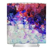 Modern Abstract Painting In Blue Shower Curtain