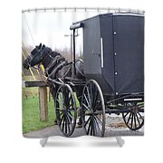 Modern Amish Horse And Buggy Shower Curtain