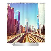 Modern Architecture Of Dubai Seen From A Metro Car. Shower Curtain