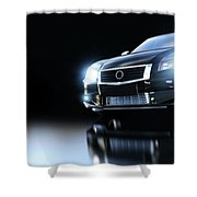 Modern Black Metallic Sedan Car In Spotlight. Banner Shower Curtain