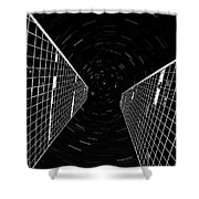 Modern Building With Star Tracks Night Photography Shower Curtain