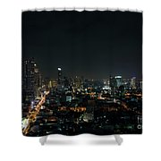 Modern Buildings In Silom Area Of Bangkok Thailand At Night Shower Curtain