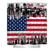 Modern City Scape American Flag Shower Curtain
