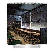 Modern Industrial Contemporary Interior Design Restaurant Shower Curtain
