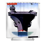 Modern Mobile Mighty Navy Shower Curtain