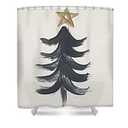 Modern Primitive Black And Gold Tree 1- Art By Linda Woods Shower Curtain