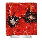 Modern Red Poppies - Sharon Cummings Shower Curtain