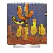 Modern Saguaro - Red Shower Curtain