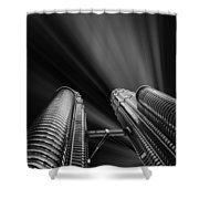 Modern Skyscraper Black And White Picture Shower Curtain