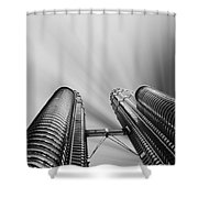Modern Skyscraper Black And White  Shower Curtain