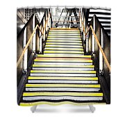 Modern Subway Steps In London Canary Wharf District Shower Curtain