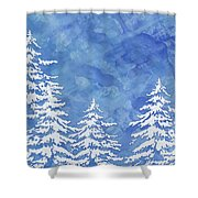 Modern Watercolor Winter Abstract - Snowy Trees Shower Curtain